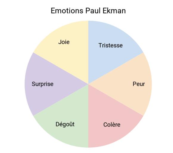 Emotions selon Paul Ekman Joie, tristesse, peur, colère, dégoût et surpise