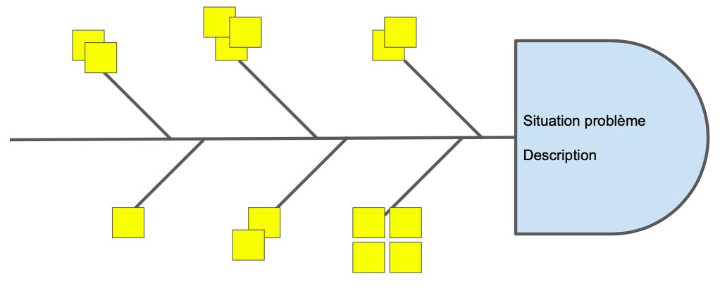 Diagramme d'ishikawa avec la problématique et les premières causes