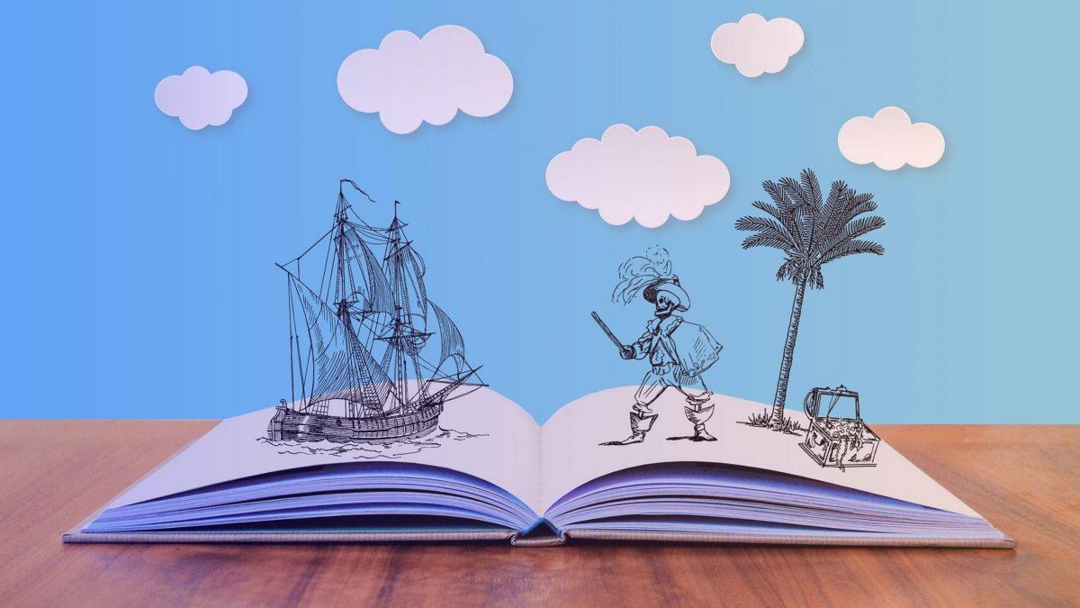 Story Mapping : livre ouvert avec des dessin de pirates