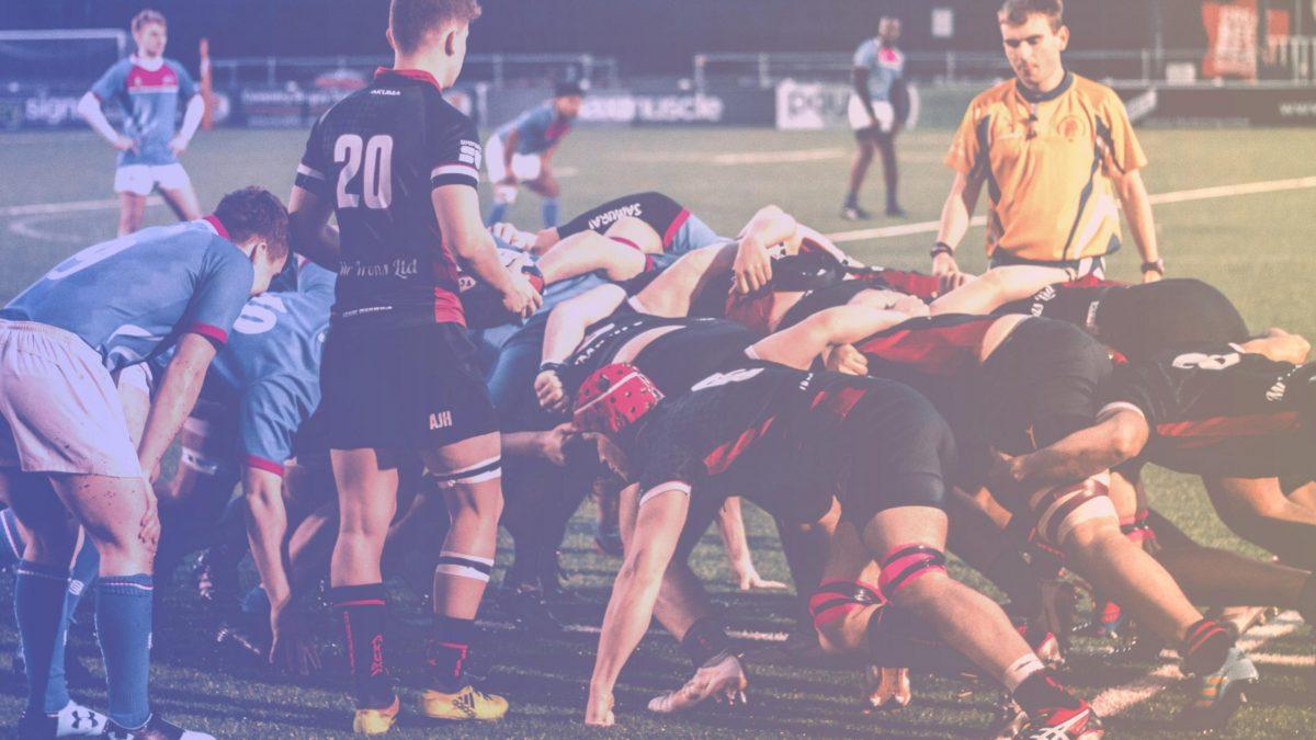Une mêlée de Rugby, illustrant le Scrum Guide 2020